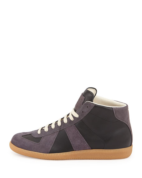 Maison Margiela Replica Mid-Top Leather Sneaker, Gray/Black