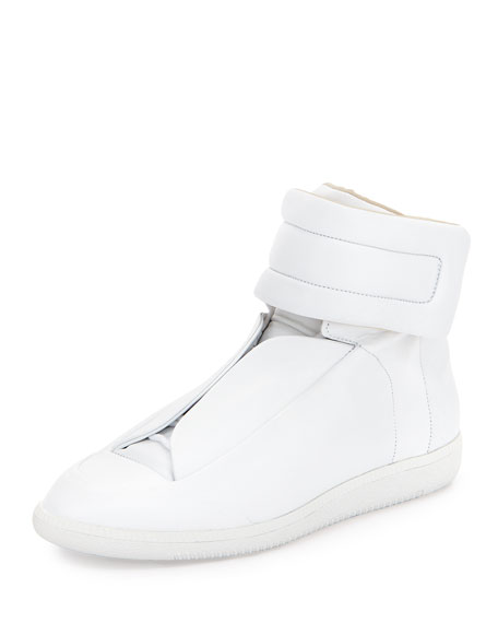 Maison Margiela Future Leather High-Top Sneaker, White