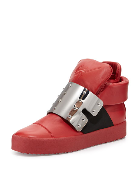 Giuseppe Zanotti Men's Leather High-Top with Plate Front,