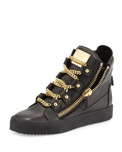 N2S13 Giuseppe Zanotti Men's Chain-Strap High-Top Sneaker, Black/Gold