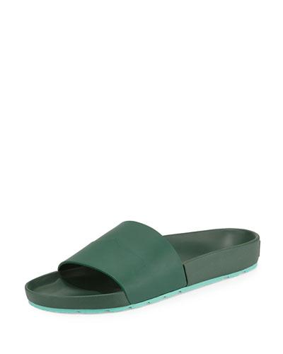 Contrast Mustache Slide Sandal, Green