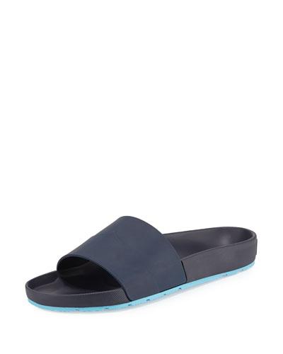 Contrast Mustache Slide Sandal, Blue