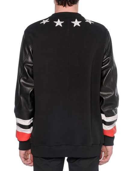 1d136c1507593 Givenchy Leather-Front Star Sweatshirt   Zipper-Waist Trimmed Trousers