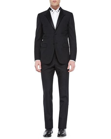 Givenchy Madonna-Collar Wool Tuxedo Jacket, Black