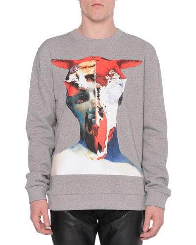 Bull-Skull Graphic Sweatshirt, Gray