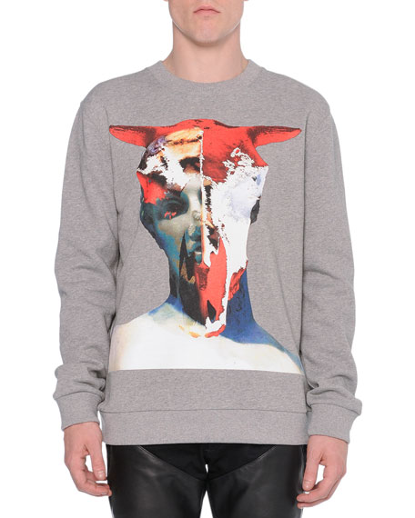 Givenchy Bull-Skull Graphic Sweatshirt, Gray