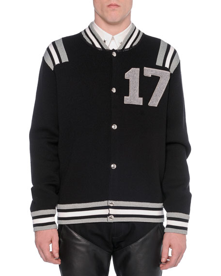 """17"" Knit Varsity Jacket, Black"
