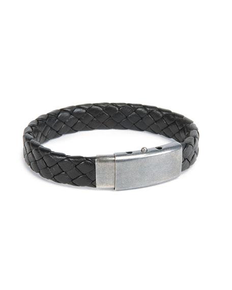 Men's Woven Leather Bracelet, Black