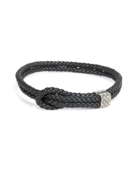Men's Woven Leather Knot Bracelet, Black