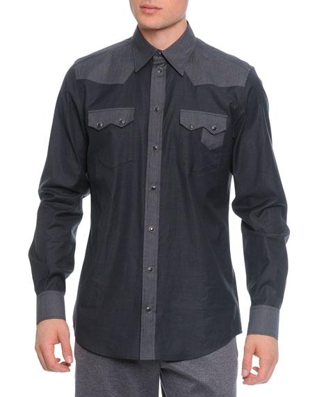 Dolce & Gabbana Pinstripe-Panel Western Shirt