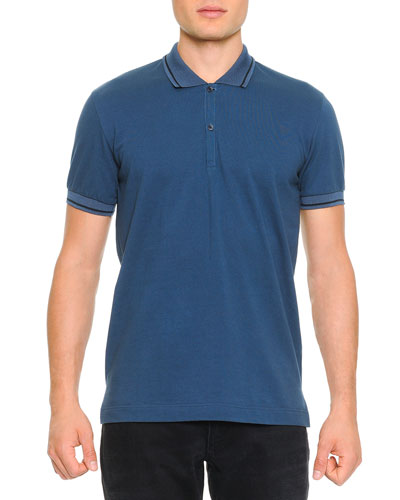Tipped Polo Shirt with Logo, Blue