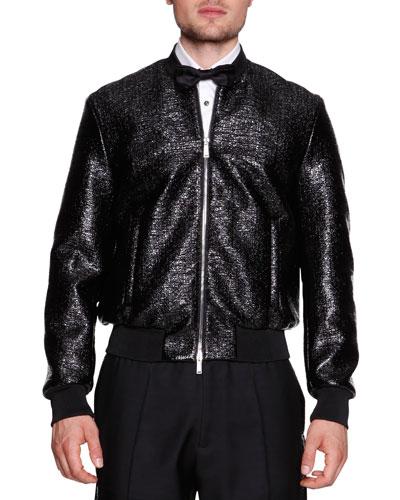 Coated Wool Evening Blouson Jacket, Black