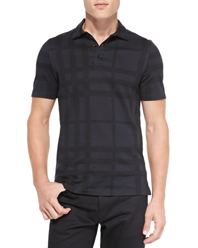 Tonal Check Polo Shirt, Black
