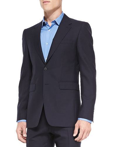 Modern-Fit Wool Suit, Navy