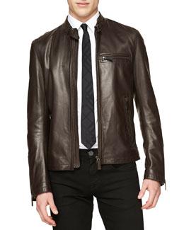 Burberry London Lambskin Leather Zip Jacket
