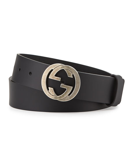 gucci leather belt with interlocking g buckle black
