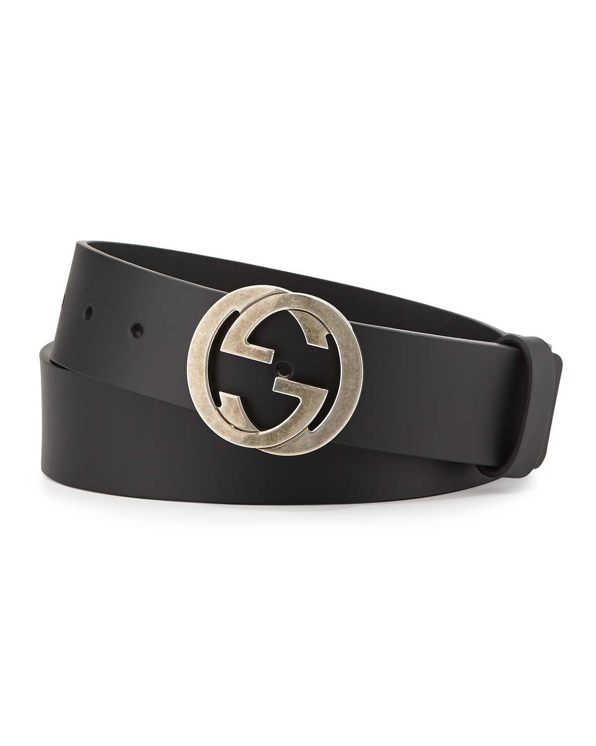 4529bf01cff Gucci Leather Belt with Interlocking G Buckle