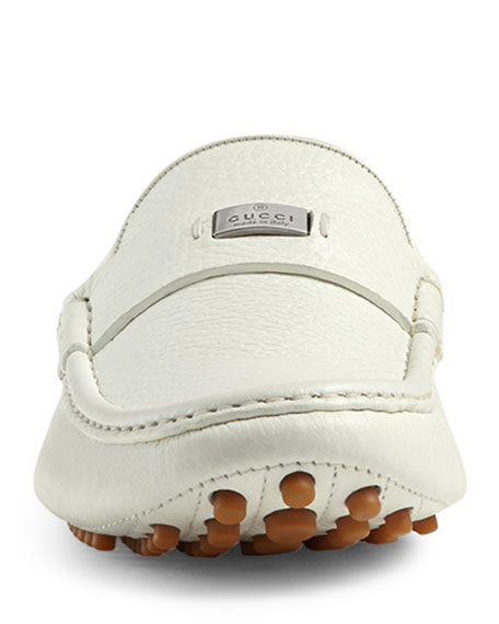 Gucci Leather Pebbled-Sole Driver, White