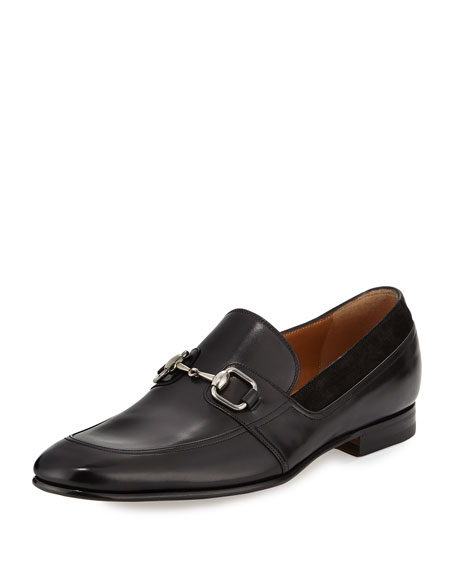 Gucci Leather Square-Horsebit Loafer, Black