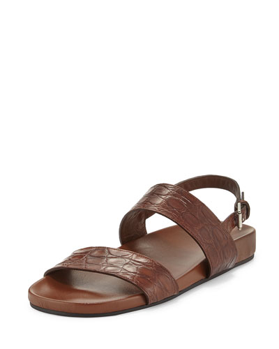 Crocodile Two-Strap Sandal, Light Brown
