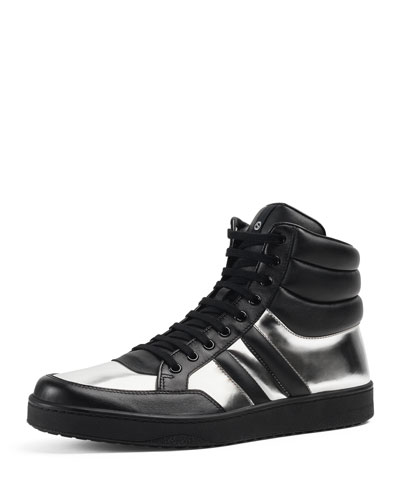 Contrast Padded Leather High-Top Sneaker, Silver/Black