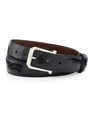 """Glazed Alligator Belt with """"The Paisley"""" Buckle, Navy (Made to Order)"""