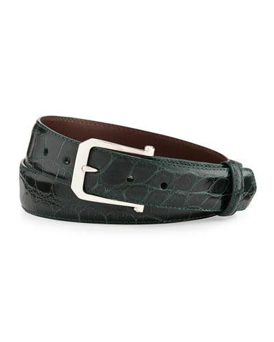 """Glazed Alligator Belt with """"The Paisley"""" Buckle, Forest Green (Made to Order)"""