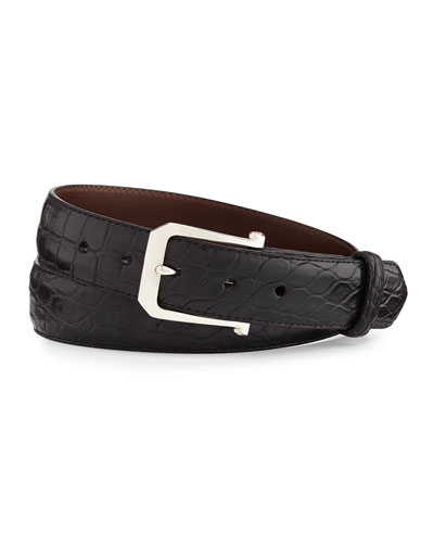 """Matte Alligator Belt with """"The Paisley"""" Buckle, Black (Made to Order)"""