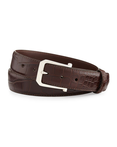 """Matte Alligator Belt with """"The Paisley"""" Buckle, Chocolate (Made to Order)"""