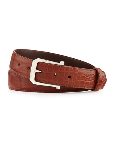 "Matte Alligator Belt with ""The Paisley"" Buckle, Cognac (Made to Order)"