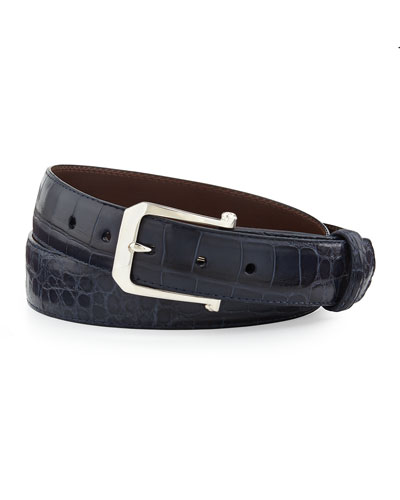 "Matte Alligator Belt with ""The Paisley"" Buckle, Navy (Made to Order)"