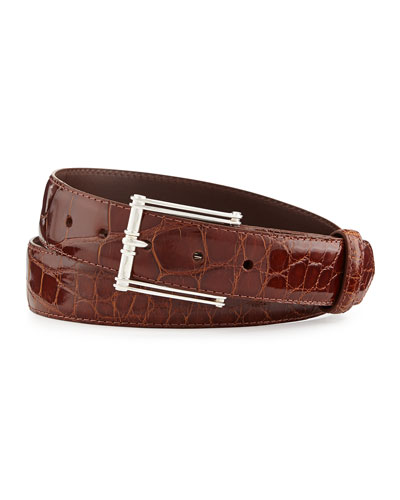 "Glazed Alligator Belt with ""The Chair"" Buckle, Cognac (Made to Order)"