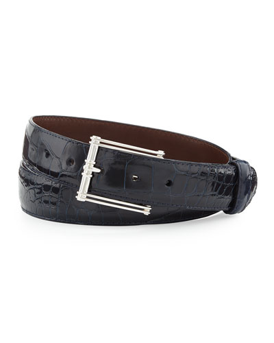 """Glazed Alligator Belt with """"The Chair"""" Buckle, Navy (Made to Order)"""