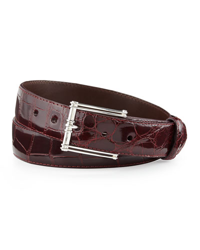 "Glazed Alligator Belt with ""The Chair"" Buckle, Burgundy (Made to Order)"