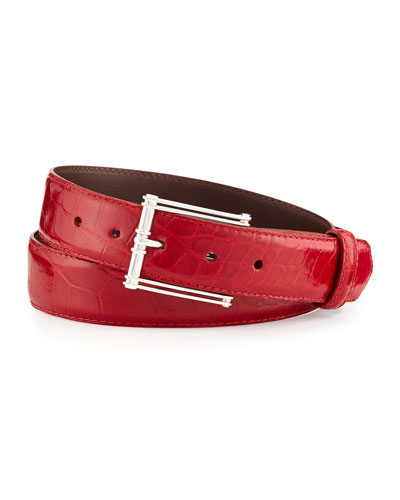 "Glazed Alligator Belt with ""The Chair"" Buckle, Red (Made to Order)"