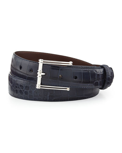 "Matte Alligator Belt with ""The Chair"" Buckle, Chocolate (Made to Order)"