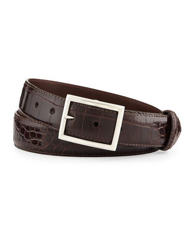 "Glazed Alligator Belt with ""Simple Rec"" Buckle, Chocolate (Made to Order)"