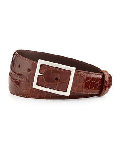 "Glazed Alligator Belt with ""Simple Rec"" Buckle, Cognac (Made to Order)"