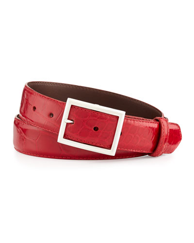 """Glazed Alligator Belt with """"Simple Rec"""" Buckle, Red (Made to Order)"""