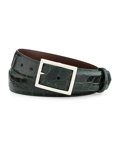 "Glazed Alligator Belt with ""Simple Rec"" Buckle, Forest Green (Made to Order)"