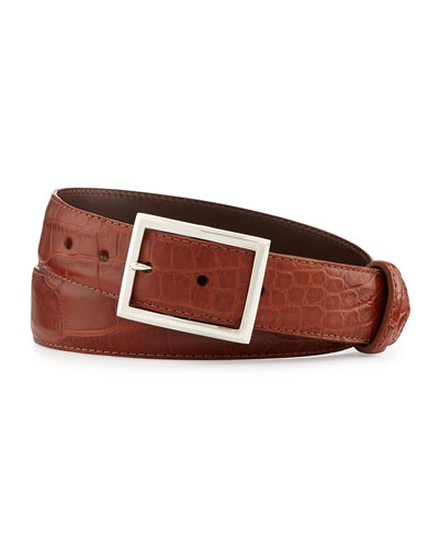 "Matte Alligator Belt with ""Simple Rec"" Buckle, Cognac (Made to Order)"