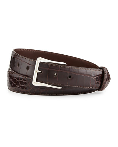 "Glazed Alligator Belt with ""The Watch"" Buckle, Chocolate (Made to Order)"