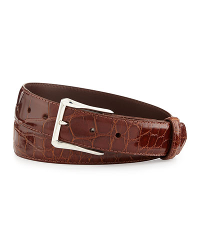 "Glazed Alligator Belt with ""The Watch"" Buckle, Cognac (Made to Order)"