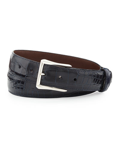 "Glazed Alligator Belt with ""The Watch"" Buckle, Navy (Made to Order)"