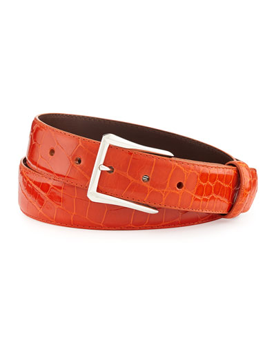 "Glazed Alligator Belt with ""The Watch"" Buckle, Orange (Made to Order)"
