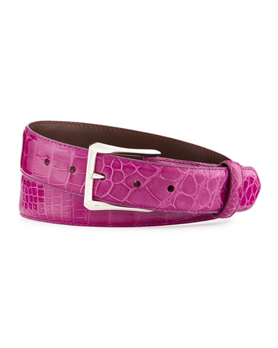 "Glazed Alligator Belt with ""The Watch"" Buckle, Magenta (Made to Order)"