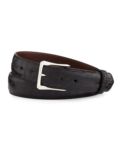"Matte Alligator Belt with ""The Watch"" Buckle, Black (Made to Order)"