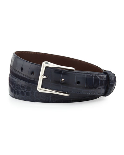 "Matte Alligator Belt with ""The Watch"" Buckle, Navy (Made to Order)"
