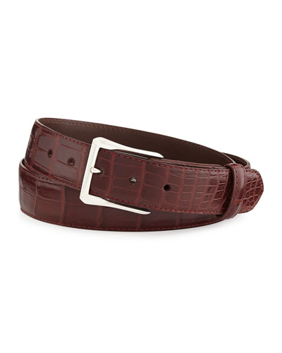 "Matte Alligator Belt with ""The Watch"" Buckle, Burgundy (Made to Order)"