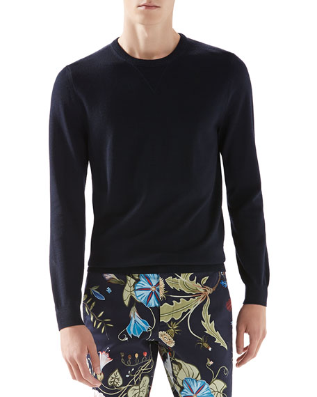 Gucci Wool-Cashmere Sweater with Leather Detail